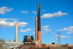 Old Fossil Fuel Coal Power Plant on a Sunny Day.  Royalty Free Stock Photography