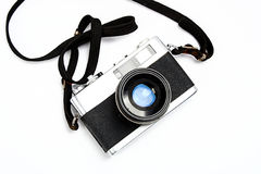 Old foto camera. With white background Stock Photos