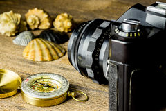 Old fotocamera with sea shells and compass on the brown wooden table Stock Images