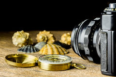 Old fotocamera with sea shells and compass on the brown wooden table Royalty Free Stock Images