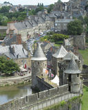 Old Fougeres, Brittany. FOUGERES, FRANCE, JULY 13 2015: View of part of the castle and old town of Fougeres in Brittany. It is an old medieval town and a hugely Royalty Free Stock Photos