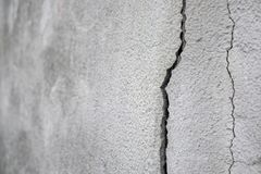 Old foundation and plaster wall with cracks. Building requiring repair closeup.  stock photo