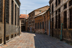 Old Foundry Buildings Exterior in Murano Street Isle near Venice Stock Photo