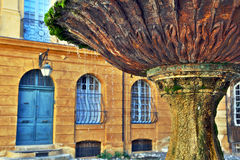 Old fountain in Aix-en-Provence, France. Old fountain on the 17th century Albertas square in Aix-en-Provence, France Royalty Free Stock Images