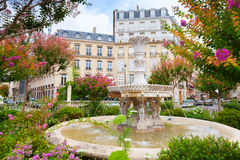 Old fountain and colorful flowers in Paris Stock Photography
