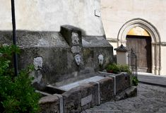 Fountain drinking water in the old city of Morano Calabro royalty free stock photo