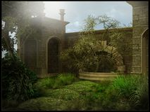 Old fountain in the garden. Old fountain in an abandoned garden stock illustration