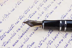 Old fountain pen and old manuscript Royalty Free Stock Images