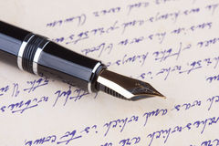 Old fountain pen and old manuscript Royalty Free Stock Photography