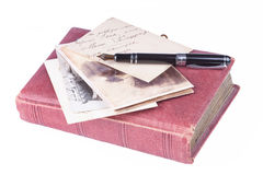 Old fountain pen and old Photo album Royalty Free Stock Photos