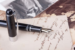 Old fountain pen and old Photos Royalty Free Stock Images