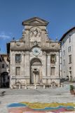The old fountain of Piazza del Mercato, Spoleto Italy Royalty Free Stock Images