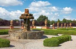 Old fountain. Stone fountain in park of Chateau Troja. Landscape gardener Jiri Seeman. Garden in French style, 18 century. Prague. Czech republic stock images