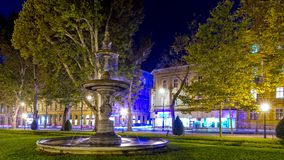 Old fountain at Zrinjevac. One of two old fountain in park Zrinjevac in central Zagreb. Photo taken at night  in fall of 2017 Royalty Free Stock Photography