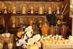 Old fragrance bottles. And display in fragrance shop in Capri, Italy Stock Photo