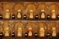Old fragrance bottles. In fragrance shop in Capri, Italy Royalty Free Stock Photos