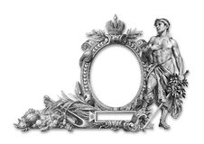 Old Frame. Old Victorian frame and man a on white background Royalty Free Stock Photo
