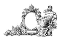 Old Frame. Old Victorian Frame and wooman a on white background royalty free illustration