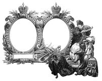 Old Frame. Old Vintage Victorian frame with frightened people royalty free illustration