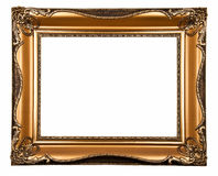 Old frame. Wooden gilt frame isolated on white W/PATH Stock Photos
