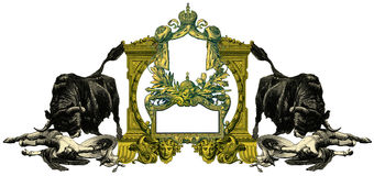 Old Frame. Luxurious Victorian frame with gladiator and bull Royalty Free Stock Photography