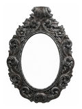 Old frame. Old oval baroque frame in silver Stock Photos