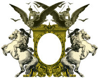 Old Frame. Luxurious Victorian frame, after a engraving A bull fight edited by The Graphic - London, circa 1878 Stock Photography