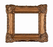Old frame. Wooden bronze color frame isolated on white W / PATH Royalty Free Stock Images