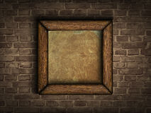 Old frame on a brick wall Royalty Free Stock Image