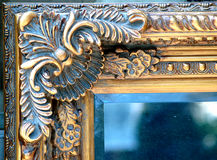 Old frame corner. Detalis in gold and blue royalty free stock images