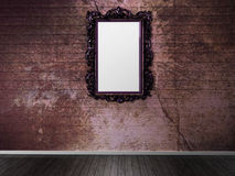 Old frame on the dark wall Stock Images
