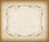 Old frame with flowers on aged paper with dark edges and a blank Royalty Free Stock Images