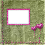 Old frame with hearts for congratulation Stock Image