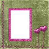 Old frame with hearts for congratulation Stock Photo