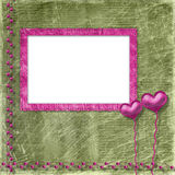 Old frame with hearts for congratulation Royalty Free Stock Images