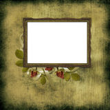Old frame over grunge wallpaper and roses Royalty Free Stock Image