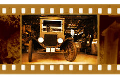 Old frame photo with retro car. Old 35mm frame photo with american retro car Stock Images