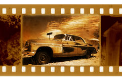 Old frame photo with retro car Stock Photography