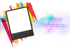 Old frame picture on color paint Royalty Free Stock Images