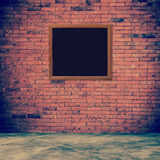 Old frame red brick wall and room interior with floor concrete v Royalty Free Stock Image