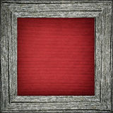 Old frame with red striped canvas Stock Image