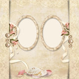 Old frame on victorian background with roses Royalty Free Stock Photos