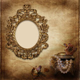 Old frame Victorian style on the vintage background Royalty Free Stock Image