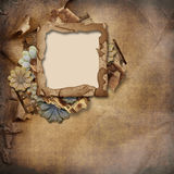Old frame on vintage crumpled  background Stock Photos