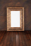Old frames. Over the grunge wall background stock photo