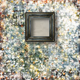 Old frames on the abstract winter background Royalty Free Stock Images