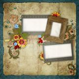 Old frames on vintage background Stock Images