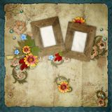 Old frames on vintage background Stock Image
