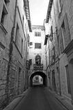 Old France. Black and white image of old, narrow street in France Stock Image