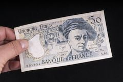 An old French banknote stock photos